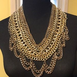 Baublebar Multi Chain Gold Bib Necklace